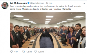 Bolsonaro confirma Mandetta como futuro ministro da Saúde 2