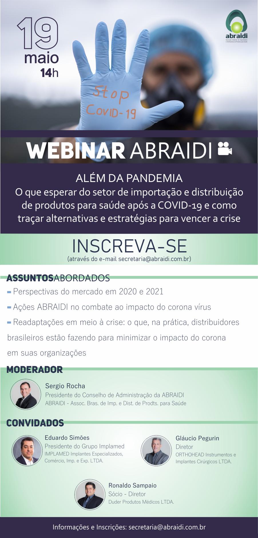 ABRAIDI realiza Webinar sobre importação e distribuição de produtos após Covid-19 2